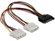 DeLock Cable Power SATA 15pin > 2x 4pin Molex female 20cm (65159)